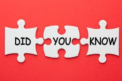 Did You Know. Question on 3 pieces paper puzzle on a red background. Business concept stock photos