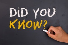 Did you know. Handwritten on blackboard stock photo