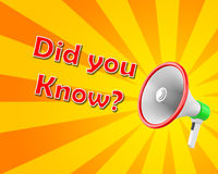 DID YOU KNOW. Megaphone with DID YOU KNOW?  3d renderng Royalty Free Stock Photography