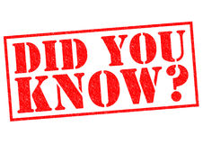 DID YOU KNOW?. Red Rubber Stamp over a white background Stock Photos
