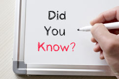 Did you know written on whiteboard. Human hand writing did you know on whiteboard Stock Image