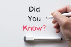 Did you know written on whiteboard. Human hand writing did you know on whiteboard Royalty Free Stock Photo