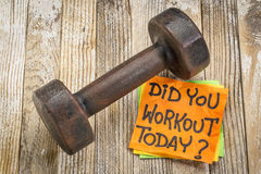 Did you workout today question and reminder Royalty Free Stock Photo