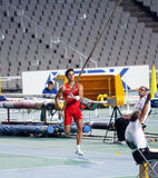 Didac Salas from Spain compete in the pole vault Royalty Free Stock Photos