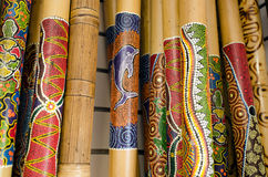Didgeridoo. Close up of Didgeridoo, wooden Australian wooden musical instruments Royalty Free Stock Photos