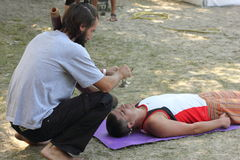 Didgeridoo massage Royalty Free Stock Photography