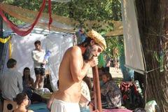 Didgeridoo massage Royalty Free Stock Images