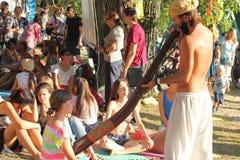 Didgeridoo massage Stock Photo