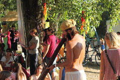 Didgeridoo massage Royalty Free Stock Image
