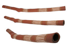 Didgeridoo, musical instrument of the australian aboriginals. 3 angles, separated on white background Stock Image