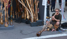 Didgeridoo player at Ann Arbor Art Fair Royalty Free Stock Image