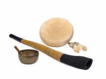 Didgeridoo, Trommel, en Zingende Kom Stock Fotografie