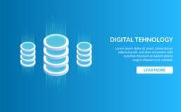 Didgital tehnology Begrepp av stora data - bearbeta, energistation av framtid, serverrumkugge, datorhall isometriskt vektor illustrationer