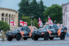 Didgori, Georgian-made armoured personnel carrier. Kutaisi, Georgia - May 26, 2016: Didgori, Georgian-made armoured personnel carrier on Georgia Independence Day Royalty Free Stock Photos