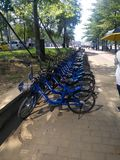 Didi compartió las bicis en el lado del camino en el reparto del tiempo del día es muy popular en China imágenes de archivo libres de regalías
