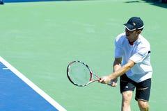 Didi Sela. Israeli tennis player Dudi Sela practicing on the tennis court at US Open Grand Slam in New York royalty free stock photo