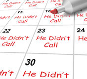 He Didnt Call Calendar Shows No Calls From Love. He Didnt Call Calendar Showing No Calls From Love Interest royalty free illustration