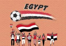 Die ägyptischen Fußballfane, die mit Ägypten zujubeln, kennzeichnen Farben in der Front vektor abbildung