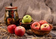 Die Äpfel in den Schalen malten hölzernen Hintergrund mit Stroh Stockbilder