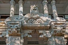 Die äußere Dekoration des Tempels des Zahnes in Kandy, Sri Lanka lizenzfreie stockbilder