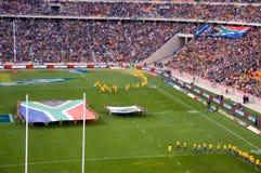 Die Öffnung des Südafrikas gegen Neuseeland-Wolldecke Stockfotos