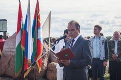 Die Öffnungsereignisse zu Ehren des Tages der Befreiung des Th 536 von Russland vom Mongole-tatarischen Joch in der Kaluga-Region Lizenzfreies Stockfoto
