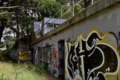 Die Überreste des Westforts Miley verschönert unter Graffiti, 18 lizenzfreies stockfoto