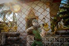 Die Abbildungen der Soldaten nähern sich einem buddhistischen Kloster Stockbild