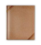 die Abdeckung, die im altem Stil ist, bereiten das braune Notizbuch auf, das mit braunem ribbo lokalisiert wird Stockfotografie