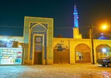 Die Abendansicht über alte Stadt von Yazd lizenzfreies stockfoto