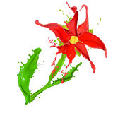 Die abstrakte Blume, die von gefärbt gemacht wird, spritzt Stockfotos