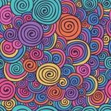 Die abstrakte bunte skizzierte Hand wirbelt nahtloses Hintergrund-Muster Stockfotos
