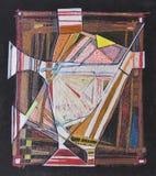Die abstrakte handgemachte Zeichnungsdarstellung dehnte auf ein Rahmen mater aus Stockbilder