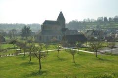 Die Abtei und das Zidermuseum am Lonlay l'Abbaye Stockfotografie