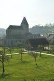 Die Abtei und das Zidermuseum am Lonlay l'Abbaye Stockfoto