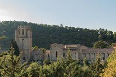 Die Abtei von Lagrasse, Frankreich lizenzfreie stockfotos