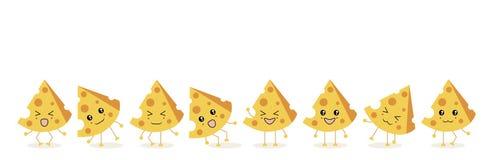 Die acht dreieckigen Stücke des Käses stock abbildung