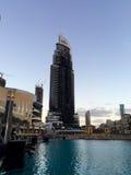 Die Adresse im Stadtzentrum gelegenes Dubai nach Feuer Lizenzfreie Stockfotos