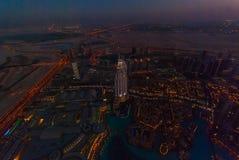 Die Adresse im Stadtzentrum gelegenes Dubai nachts Lizenzfreie Stockfotos