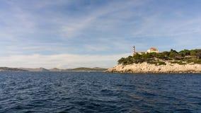 Die adriatisches Seeansicht schöner Bildleuchtturm Stockfotos