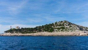 Die adriatisches Seeansicht schöner Bildleuchtturm Lizenzfreie Stockfotos