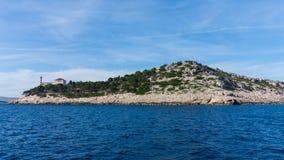Die adriatisches Seeansicht schöner Bildleuchtturm Lizenzfreies Stockfoto