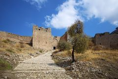 Die Akropolis von altem Korinth Stockbilder