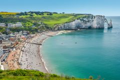Die Alabaster-Küste von Etretat, Normandie, Frankreich lizenzfreie stockfotos