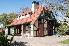 Die allgemeinen Toiletten in Solvang Kalifornien, eine dänische Stadt gelegen in Kalifornien-` s Santa Ynez Valley stockbild