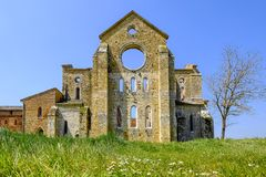 Die alte Abtei von San Galgano, Toskana Chiusdino, Siena, Italien Stockfoto