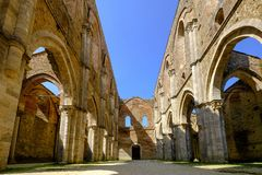 Die alte Abtei von San Galgano, Toskana Chiusdino, Siena, Italien Stockbilder