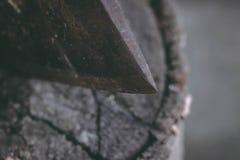 Die alte Axt für den Schnitt des Brennholzes haftet heraus im alten Baumstumpf Eine scharfe Axt war in einem runden alten hölzern stockbild