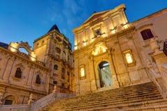 Die alte barocke Stadt Noto nachts Stockfotografie