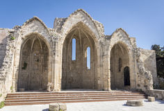 Die alte Basilika Panagia zu Bourgou, Rhodos, Griechenland Lizenzfreies Stockfoto